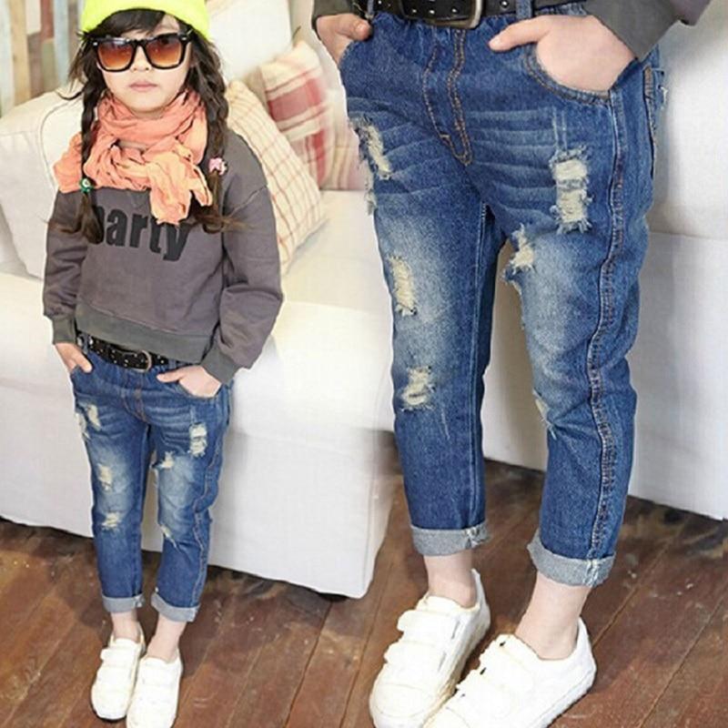 2017 Spring Autumn Baby Boys Girls Jeans Kids Broken Cool Washing Denim Pants Toddler Girls All Match Pants Children Clothes