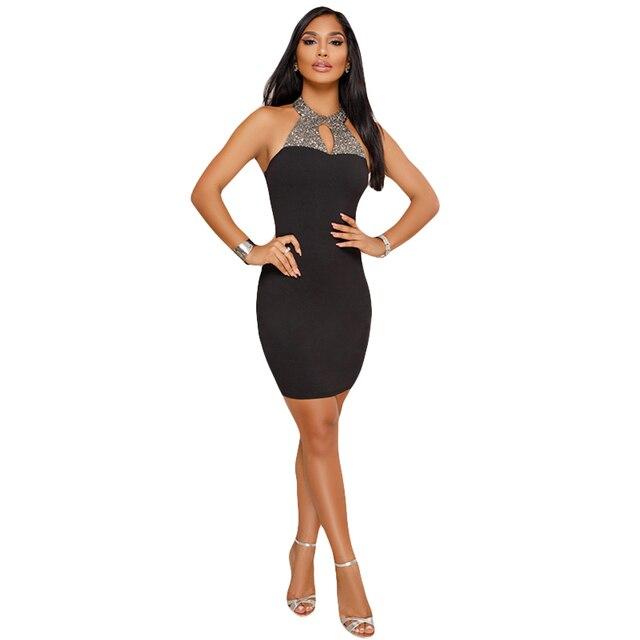Rhinestone Sexy Elegant Mini Dress Women Off Shoulder Backless Black Red  Bodycon Summer Night Club Robe Lady Party Dress Vestido a7af869a169f