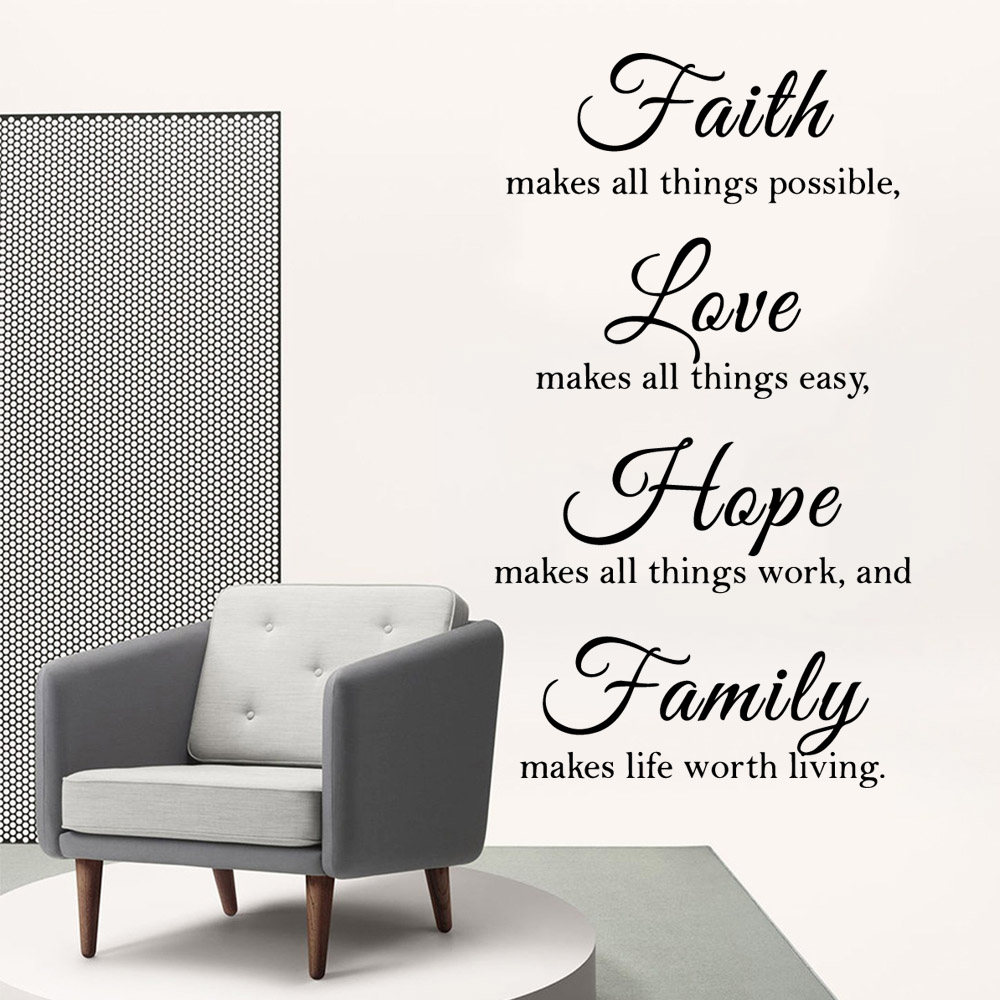 Retro faith love hope family Wall Stickers Home Furnishing Decorative Wall Sticker For Home Decor Living Room Bedroom Art Decal