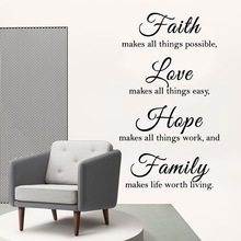 Retro faith love hope family Wall Stickers Home Furnishing Decorative Sticker For Decor Living Room Bedroom Art Decal