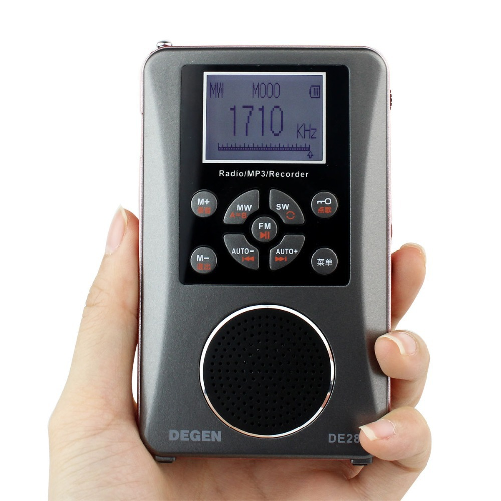 DEGEN DE-28 FM/MW/SW Short Wave Multiband Radio Receiver Portable Pocket Radio Support LED Backlit Dot Matrix Y4219A degen de1103 radio fm sw mw lw ssb digital radio receiver multiband dsp radio external antenna world band receiver y4162h