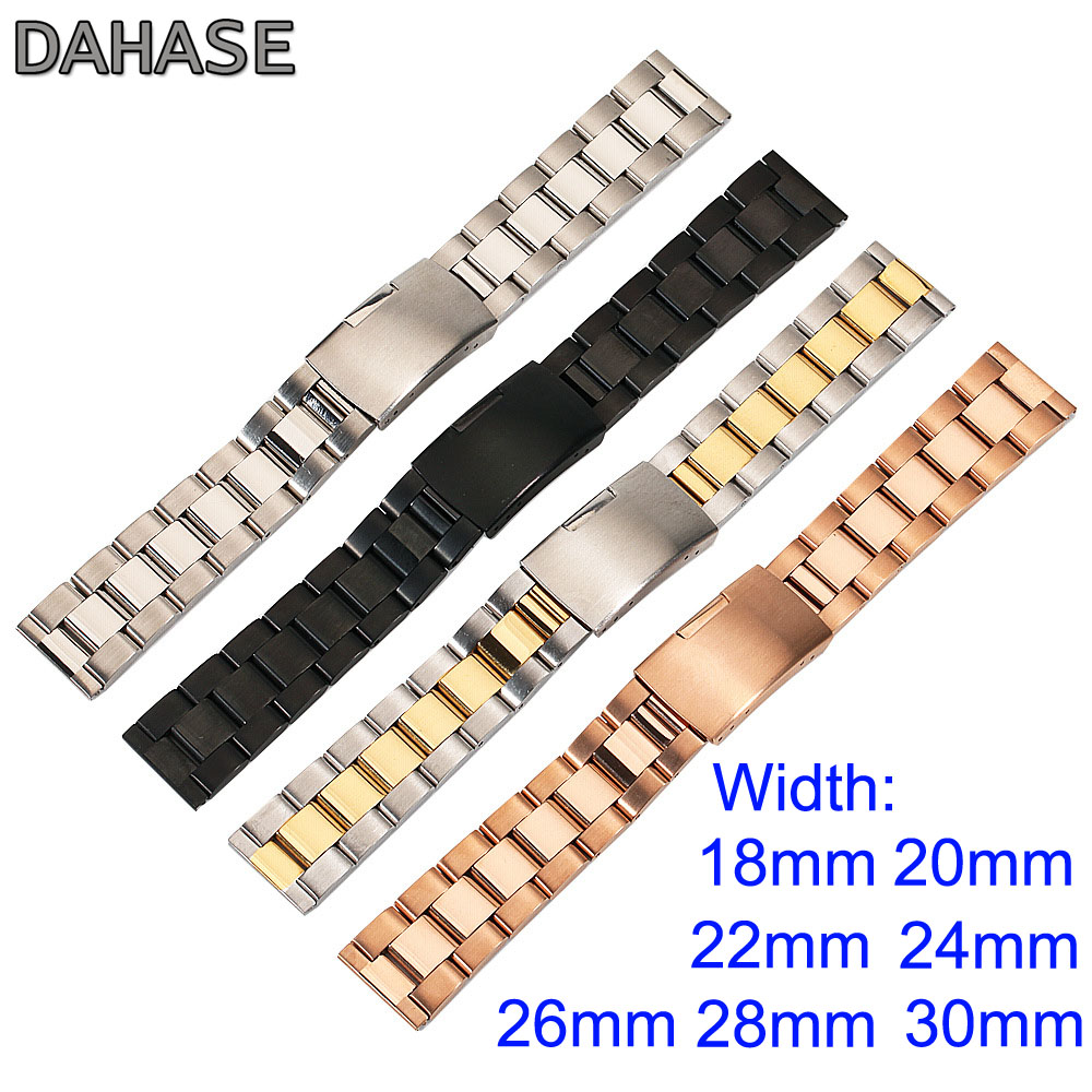 DAHASE Stainless Steel 18mm 20mm 22mm 24mm 26mm 28mm 30mm Watch Band Solid Classic General Metal Strap Watchband Belt OL3Z