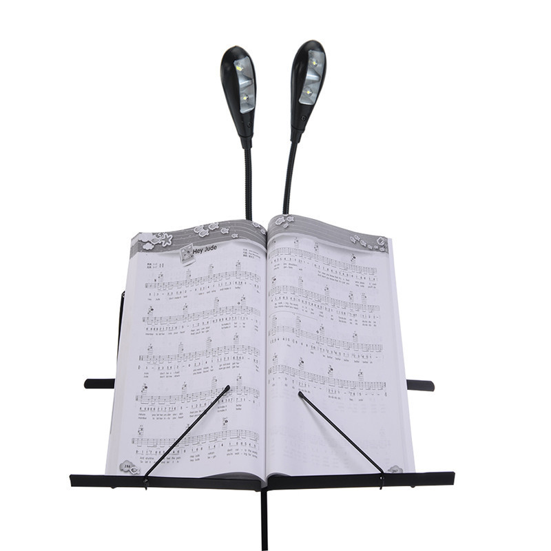Music Stand LED Light 4 LED White Light Source 3 Files Adjustment Model Foldable Rod Musical Instruments Accessories aluminium alloy professional fl 05r foldable small music stand musical instrument with double quilted carry bag 4 colors