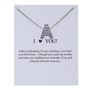 26 Letter Necklace Silver Color Chain Choker Make a Wish Card Crystal Rhinestone Name Necklace For Women Girl