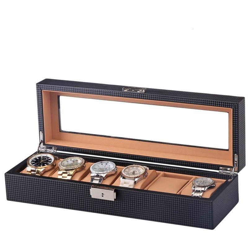 6 montre présentoir noir en Fiber de carbone Design avec boîte en verre montre organisateur bois PU cuir oreiller luxe montre Case fenêtre
