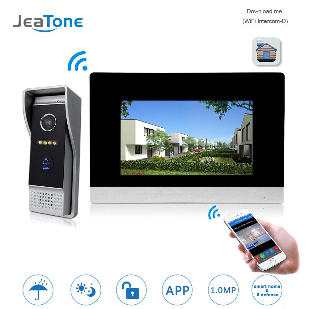 WIFI IP Sem Fio Interfone Telefone Video Da Porta Campainha Da Porta Sistema de Controle de Acesso suporte de Detecção de Movimento Da Tela de Toque Sensor de Fumaça