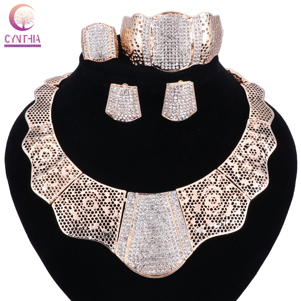 sale 2017 Bling Bling Gold Fashion Jewelry Sets ,Chunky Necklace Bangle Black Women Costume Jewelry Set & More