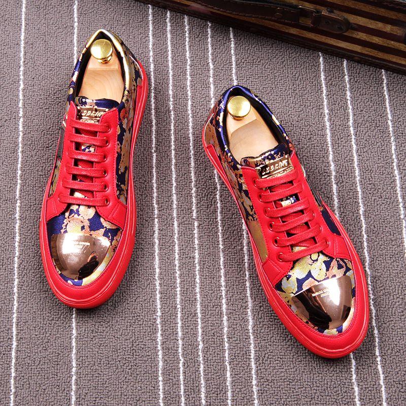Et Marque Style Fleurs Lacent Britannique Partie Sneakers Pantoufle Cuddlyiipanda Hommes En Mocassins Fumer Mode Métal rouge Mariage Noir De Impression zdfnwZx