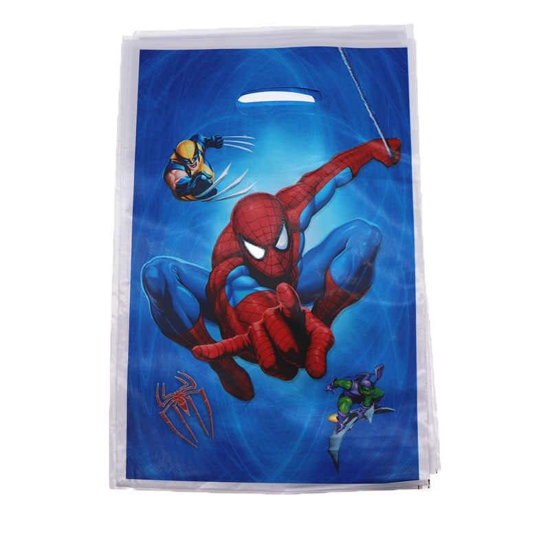 20pcs Spiderman Theme Descartáveis Bolsa Saco Do Presente de Decoração Para Casa Decorações Da Festa de Aniversário Para Crianças Fontes Do Partido Presente