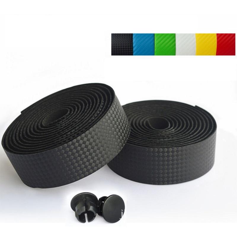 High Quality Road Cycling Handlebar Tape Handle Belt Bike Antiskid Handlebar Winding Tape +2 Bar Plug Mountain Carbon Fiber Belt