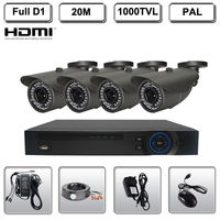 4CH Full D1 HDMI Surveillance DVR CCTV 1000TVL Waterproof Camera Security System