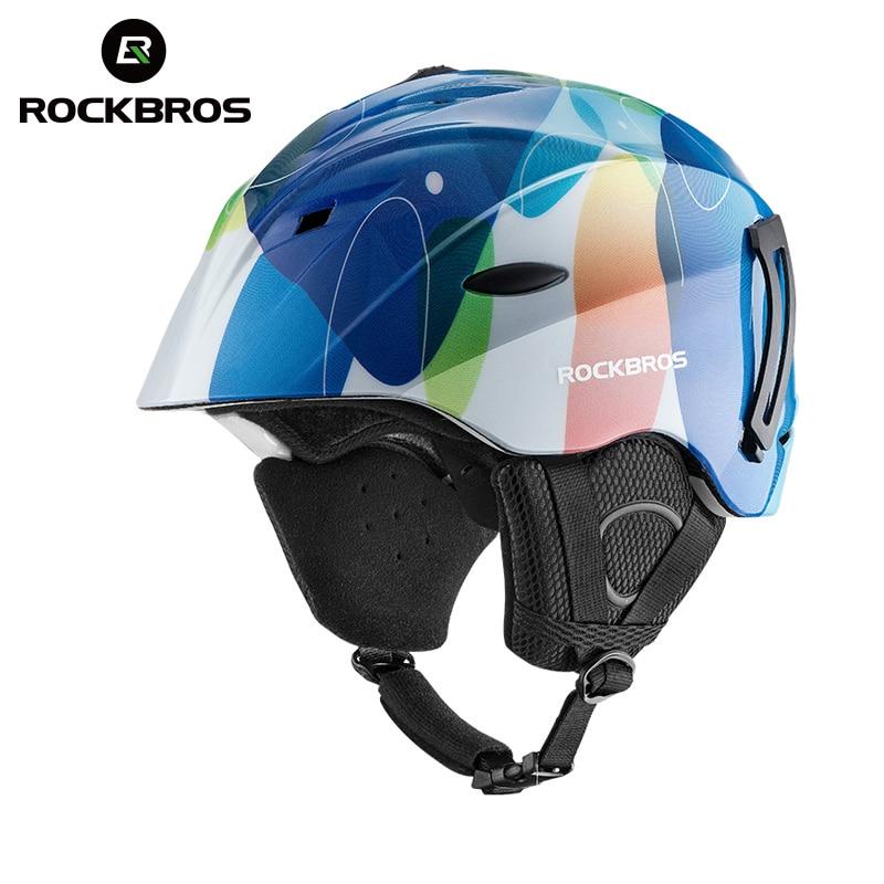 ROCKBROS Bicicleta Integralmente-moldado Capacete Snowboard Inverno Quente Térmica Respirável Ultraleve Ciclismo Capacete De Esqui Equipamentos de Segurança