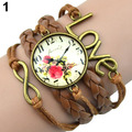 Popular Infinity Charm Love 8-Shape Weave PU Leather Faux Wrist Watch Bangle Bracelet