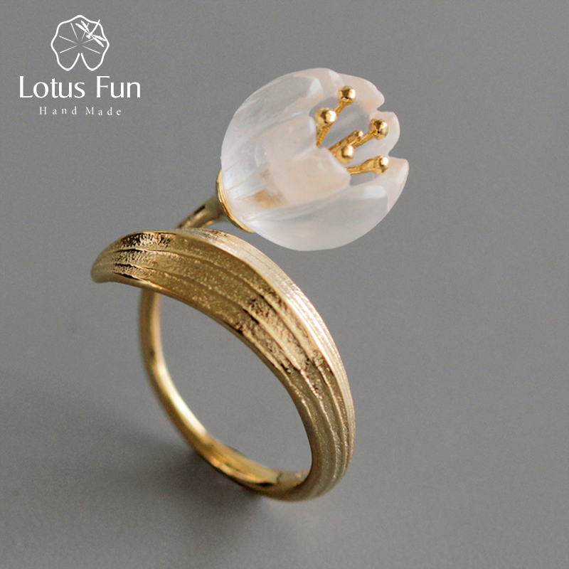 Lotus Fun Real 925 Sterling Silver Ring Natural Crystal Handmade Fine Jewelry Lily of the Valley Flower Rings For Women lotus fun real 925 sterling silver handmade fine jewelry natural crystal lily of the valley flower brooches for women brincos
