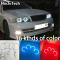 Para Toyota Chaser X100 1996 1997 1998 1999 2000 2001 perímetro LEVOU anéis de halo farol Multi-cor RGB anjo olhos demônio