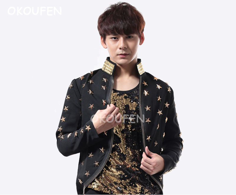 Halloween Adult Jazz Dance Suit Rivets Star Print Tuxedo Cloak Magician COS Clothing Stage Performance Show Jacket