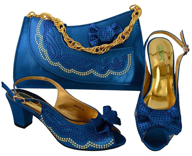 Sac De 1 Match Mariage 4 Diamants Femmes 6 Et Chaussure Pour 5 Assorti Avec Chaussures Italiennes Africain 3 À Bleu Mode Parti 2 Ensemble nUUdXxTw