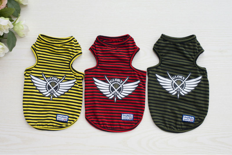 20PCS/LOT Newly Summer Pet dog Shirt Vest clothes Fashion Puppy dog Cats Boy Breathable Striped Vest T-Shirts for Yorkshire