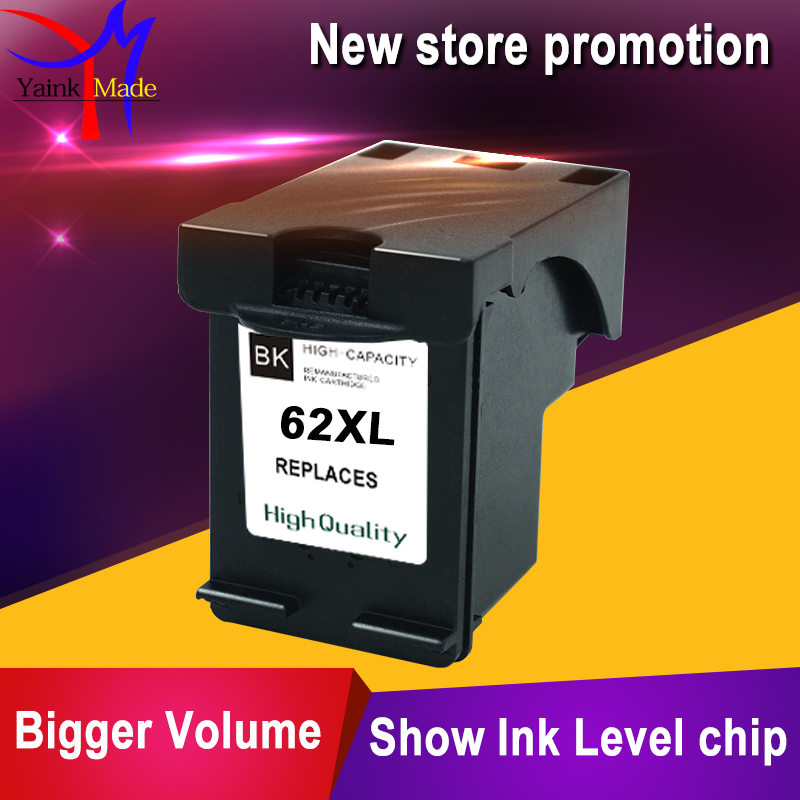 цена на 1PK Remanufactured ink cartridge For HP62 inkjet for HP ENVY 5640 5642 5643 5644 5646 5660 printer for HP 62XL black cartridge
