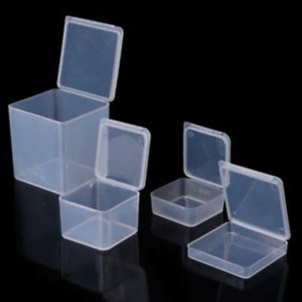 4 Size Small Square Clear Plastic Storage Box Storage Box For Jewelry Diamond Embroidery Craft Bead Pill Home Storage Supply