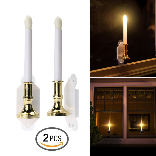 2pcs Lot Solar Led Flameless Window Candle Light Creative Lamp Night Lights Christmas Decorative