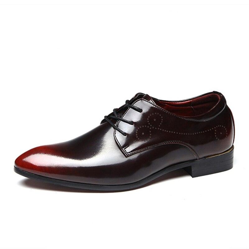Vintage 37 Hommes Bureau Oxford Lacent Pour rouge Cuir Formelle Noir Pointu Italien Chaussures bleu Bout Robe En Verni 44 wAXqX6