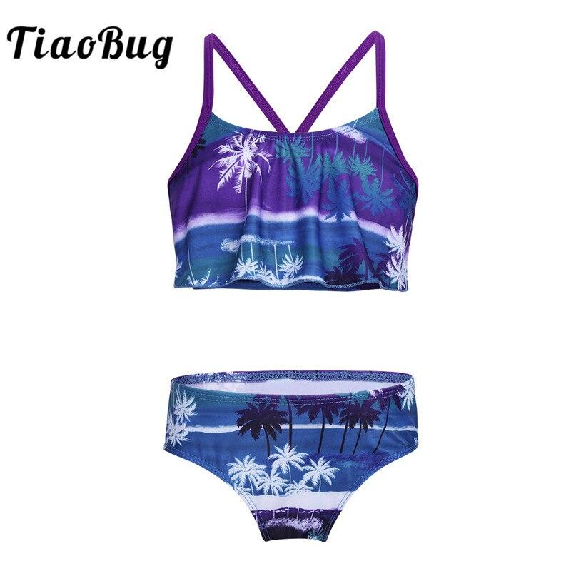 TiaoBug Kids Tropical Palm Printed Tankini Flounce Swimsuit Beach Swimwear Girls Swim Tops With Bottoms Bathing Suit Bikini Set