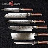 Grandsharp 6 Pcs Chef Knife Set Professional Chef's knives VG10 Japanese Damascus Steel Best Family Gift Japanese Damascus Knife
