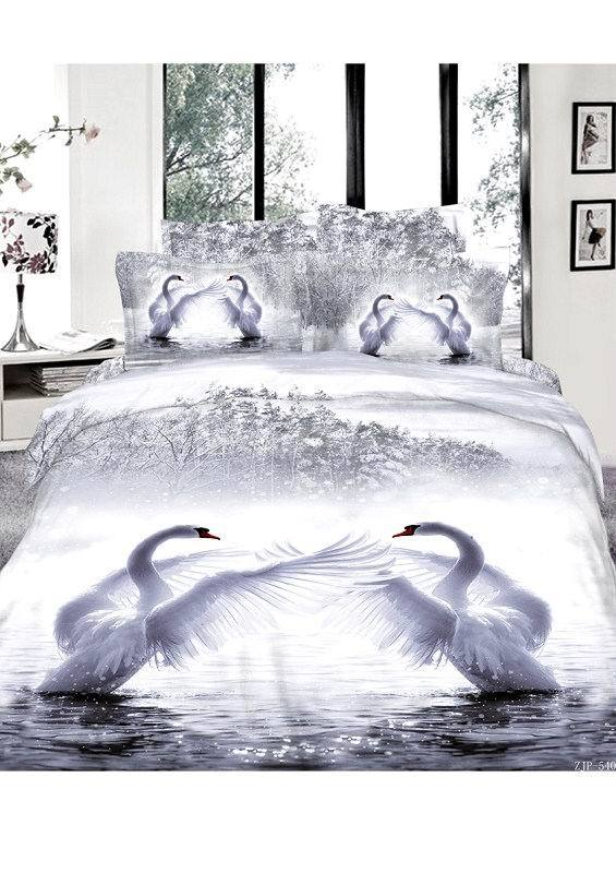 3D Snow white swan lake bedding set queen size duvet cover bedspread bed in a bag sheet linen oil painting 100% cotton