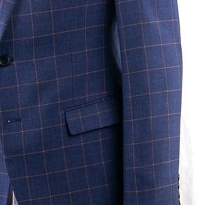 Image 4 - ダークブルー市松スーツ男性ブルーチェックスーツテーラーメイドの男性スタイル市松ドレススーツパンツ、 2019 ファッション衣装確認 Mesure