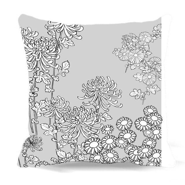 Cuscino Bianco Grigio Quadrato Piante In Sfondo Cotone Pittura Nw8on0vym