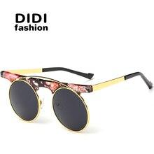DIDI New Modern Round Steampunk Sunglasses Transparent Lovers Flat Top Luxury Brand Eyewear Flower Gothic Zonnebril Dames W415
