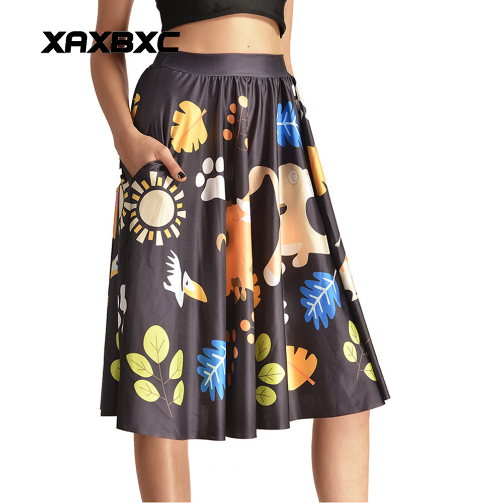 NEW 0004 Sexy Girl Women Summer Cartoon Hakuna Matata The Lion King 3D Prints Skater Pleated Midi Skirt Knee Skirts With Pocket