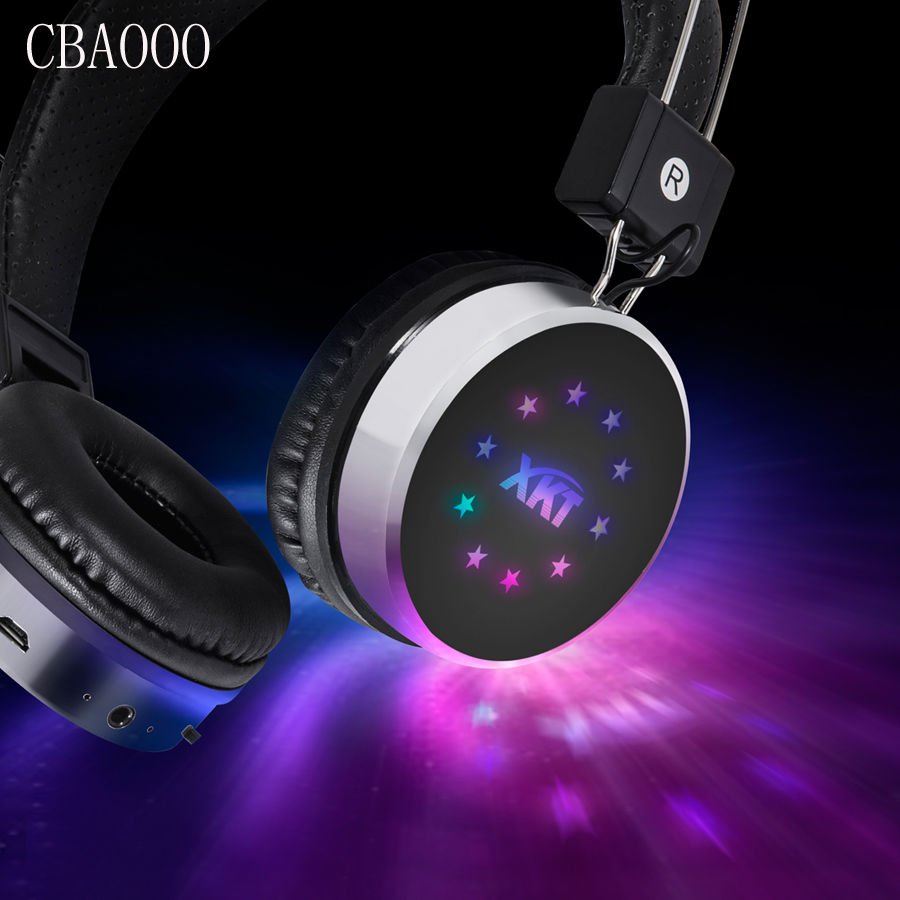 CBAOOO Wireless Bluetooth Headphones Foldable Stereo Bluetooth Headset with Mic Led Light Support Aux FM TF Card For Phone PC broadcore bluetooth headphones music earphone stereo foldable headset tf card with mic microphone for iphone 6s galaxy 30dec8