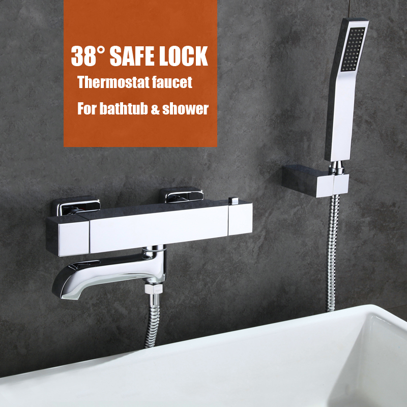 Thermostatic control bathtub faucet brass material chrome plated hand shower bathroom wall mounted shower faucet beelee high quality chrome wall mounted bathroom thermostatic faucet thermostatic valve bathroom shower faucet bathtub faucet