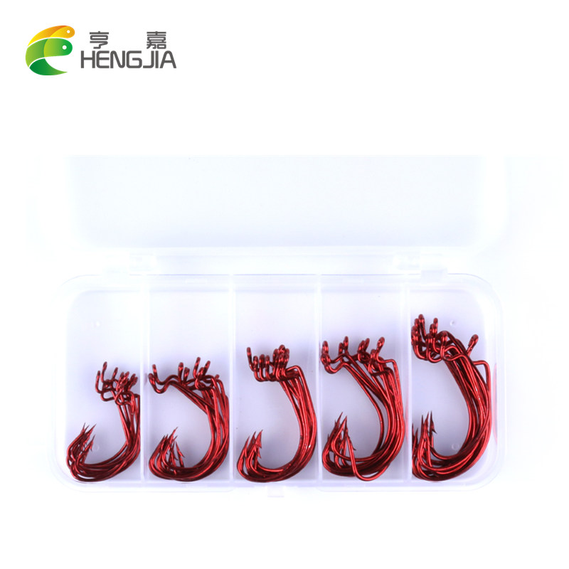 HENGJIA 50PC OffSetHook Fishing Hook 2# 1# 1/0-3/0# soft lure Worm Series Hook Red Color Crank hook Bass fishing accessories box 50pcs new wifreo soft lure loader locker connector fishing worm hook bait accessories for bass fishing wholesale