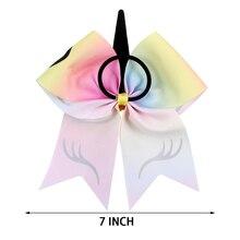 7 Inch Cartoon Sequin Cheer Bows with Elastic Hair Band