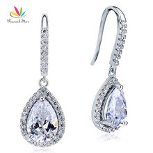 Peacock Star Dangle Water Drop Sterling 925 Silver Wedding / Fashion Earrings Bridesmaid Jewelry CFE8066