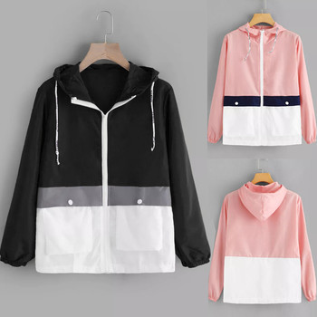 Women's Jacket Women Long Sleeve Patchwork Thin Skinsuits Hooded Zipper Pockets Sport Coat jaqueta f