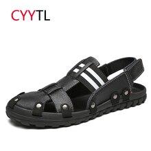 CYYTL кожаные сандалии для мужчин летняя Уличная обувь мужские кроссовки пляжные водные ременные сандалии модные Вьетнамки Sandalias Hombre