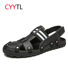 CYYTL Leather Sandals Men 2019 Summer Outdoor Shoes Male Sneakers Beach Water Roman Slippers Fashion Flip Flops Sandalias Hombre