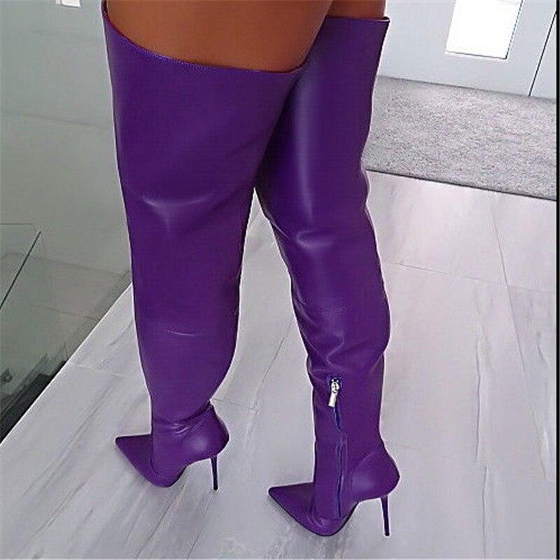 Le Hauts Nouveau Sur Bottes Blue Genou Cuir Talons D'hiver Dames Haute Chaussures Longues En Bout Stilettos pink Femmes 2019 Pointu purple Cuisse De Sexy tQBshCordx