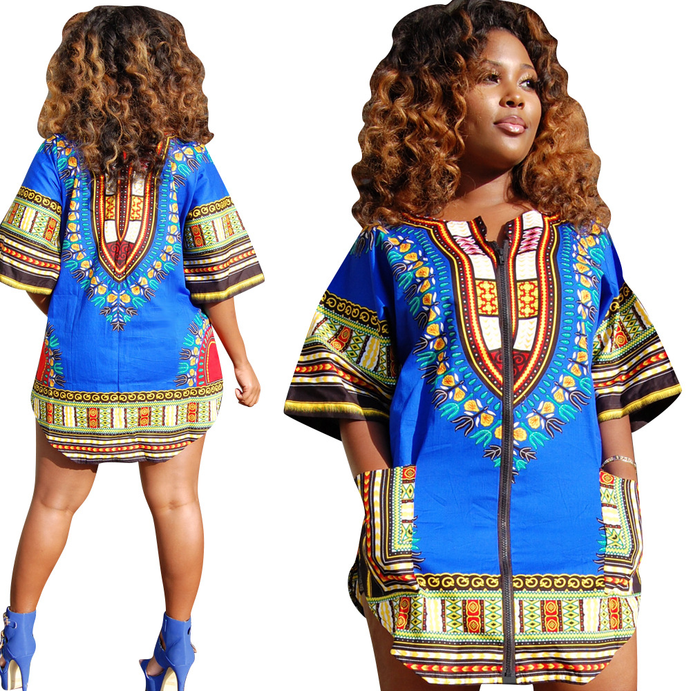 7c4ae0760da African Dresses For Women Dashiki Traditional Print Bazin Riche Short  Vintage Front Zipper Half Sleeve Bodycon Dress Clothing-in Africa Clothing  from ...