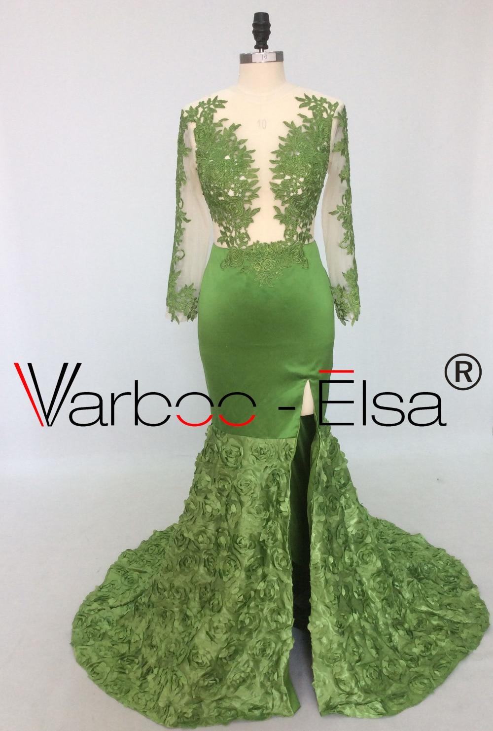 Royal Blue Mermaid Dress Split Prom Gowns 2018 Sexy Illusion Long