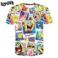 BZPOVB 2019 мужская летняя модная футболка с коротким рукавом Повседневный стиль удобная мягкая футболка с 3D принтом Спанч Боб