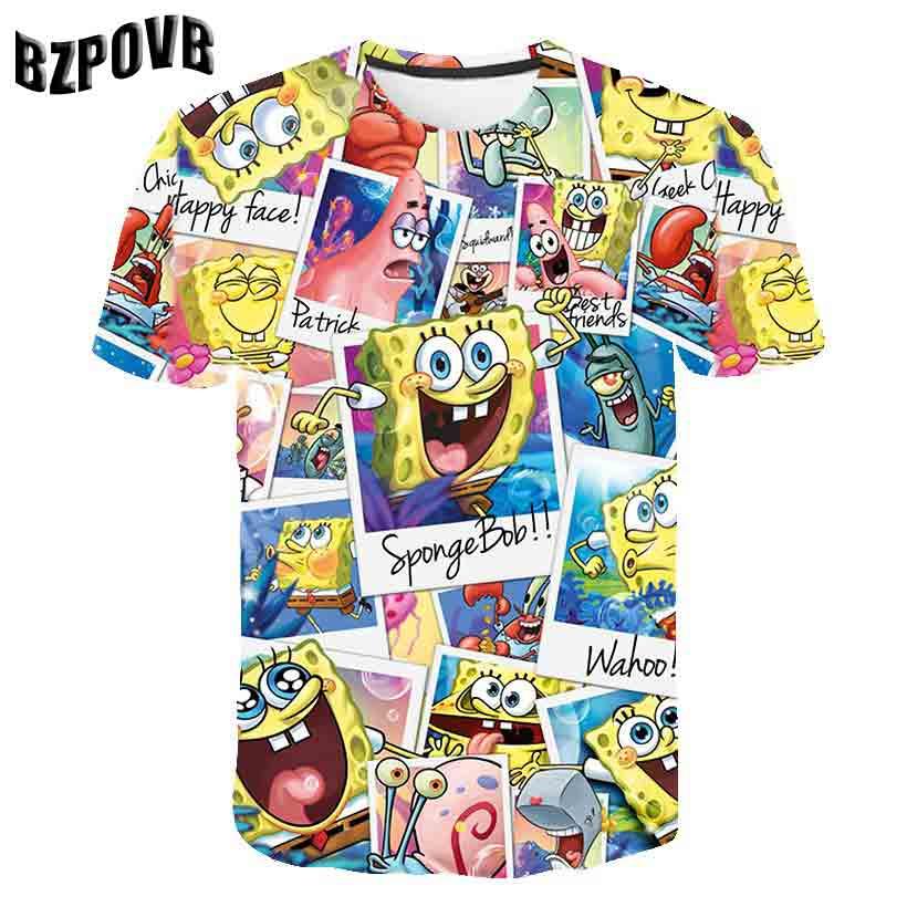 BZPOVB 2019 Men's Summer Fashion Short Sleeve T-Shirt Casual Style Comfortable Soft SpongeBob 3D Print Top T-Shirt