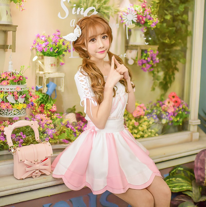 Princess sweet lolita shirt and skirt set Candy rain design summer women's sweet soft sister embroidery chiffon suit  C16AB6063