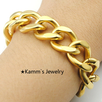 Top Quality Punk 14mm Gold Plated Bracelet 316L Stainless Steel Byzantine Fashion Men Jewelry Pulseiras Music