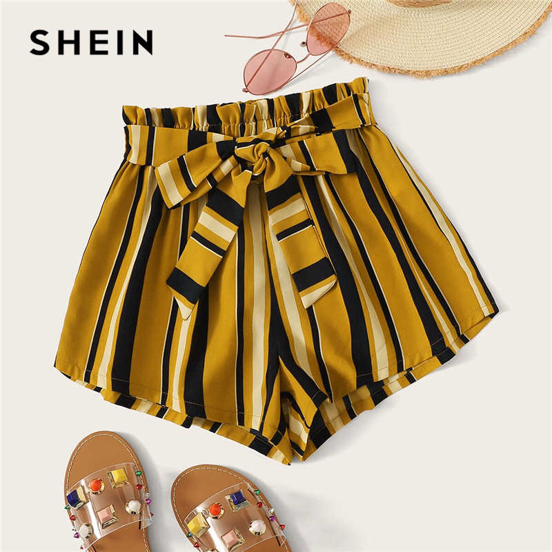 SHEIN Paperbag Taille Selbst Belted Striped Shorts 2019 Sommer Elastische Taille Shorts Boho Ingwer Hohe Taille Culottes Shorts