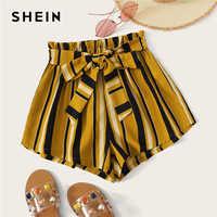 Shein paperbag cintura auto com cinto listrado shorts 2019 verão cintura elástica shorts boho gengibre calções de cintura alta